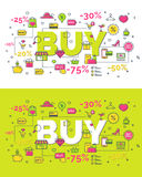 Set of buy concept. With modern thin line icons. Creative idea concept. Art style design for business idea, website banner. Vector Illustration Stock Photography