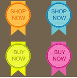 Set of Buy Now. On grey background Royalty Free Stock Images