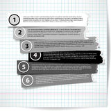 Set of bw stripes progress steps for tutorial with ragged edges Royalty Free Stock Photo