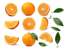 Set całe i pokrojone pomarańcze z liśćmi Obraz Stock