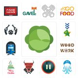 Set of cabbage, jellyfish, pause, butcher shop, merry christmas, woodwork, train station, military, revolver icons. Set Of 13 simple  icons such as cabbage Stock Images