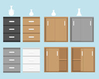 Set of cabinet in flat style and vase Royalty Free Stock Photography