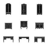Set of cabinet, wardrobe and writing table icons Royalty Free Stock Photo