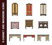 Set of cabinet, wardrobe and writing table icons Royalty Free Stock Image