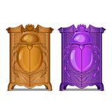 A set of cabinets with carved facade with the image of a beetle. Vector cartoon close-up illustration. stock illustration