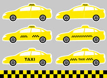 Set of cabs with taxi sign Stock Image