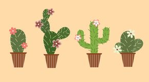 Set of cacti with flowers in pots stock illustration