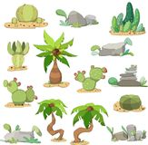 Set of cacti, stones and palms. Desert/tropic location. Group of rocks, cacti and palms, Vector illustration Royalty Free Stock Photos