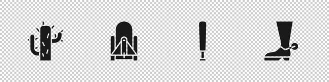 Set Cactus, Rocket launch from the spaceport, Baseball bat and Cowboy boot icon. Vector