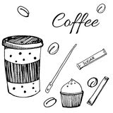 Set of cafe assortment elements. Paper cup of coffee, beans, sugar sticks. Vector illustration in hand drawn style. Stock Photography