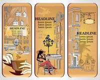 Set of cafe banners, decorated with the old town views and a fashion girl with a cup of coffee Royalty Free Stock Photography