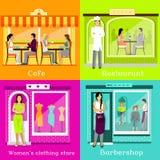 Set Cafe Restaurant Shop Hairdresser Stock Image