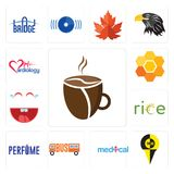 Set of cafeteria, , medical, laugh, honeycomb, cardiology icons. Set Of 13 simple editable icons such as cafeteria, , medical, laugh, honeycomb, cardiology can Stock Photos