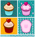 Set of cake cards template Royalty Free Stock Images
