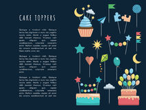 Set cake and cupcake toppers. Set of decorative toppers for decorating cakes and cupcakes, and other baked goods from dough. Vector illustration of decoration Stock Photos