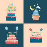 Set cake and cupcake toppers. Set of decorative toppers for decorating cakes and cupcakes, and other baked goods from dough. Vector illustration of decoration Stock Images