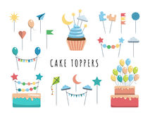 Set cake and cupcake toppers. Set of decorative toppers for decorating cakes and cupcakes, and other baked goods from dough. Vector illustration of decoration Stock Photography