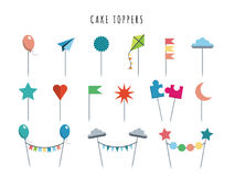Set cake and cupcake toppers Stock Photo