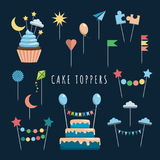 Set cake and cupcake toppers. Set of decorative toppers for decorating cakes and cupcakes, and other baked goods from dough. Vector illustration of decoration Stock Photo