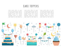 Set cake and cupcake toppers. Set of decorative toppers for decorating cakes and cupcakes, and other baked goods from dough. Vector illustration of decoration Royalty Free Stock Image