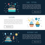 Set cake and cupcake toppers. Vector banners with space for text, templates app, illustration on the theme of holiday and birthday. Vector cakes and cupcakes Royalty Free Stock Photo