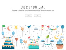 Set cake and cupcake toppers. Vector template for web, app on the theme party the image of cakes, cupcakes, and decorations, toppers. Vector banner with place Stock Photos