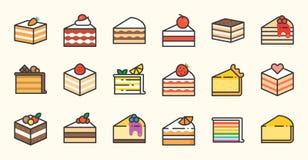 Set of cake, filled outline icon. Set of cake, tiramisu, cheese cake, red velvet, orange, carrot, chocolate, mocha, crepe and rainbow cake, layer cake, filled Royalty Free Stock Photo