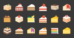 Set of cake, flat icon. Set of cake, tiramisu, cheese cake, red velvet, orange, carrot, chocolate, mocha, crepe and rainbow cake, layer cake, flat icon vector illustration