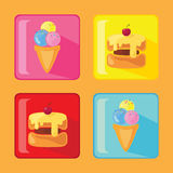Set of cake and ice icons Stock Images