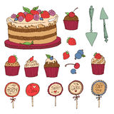 Set of cake, muffins and berries. Vector set of cake, muffins and berries painted by hand Royalty Free Stock Photo
