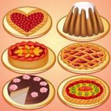 Set cake och pie med jordgubbeCherryet Royaltyfria Bilder