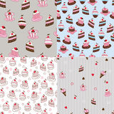 Set of cake seamless patterns Stock Photography
