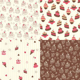 Set of cake seamless patterns Royalty Free Stock Photos