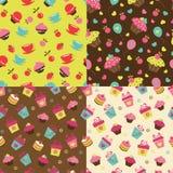 Set of cake  seamless patterns Royalty Free Stock Photos