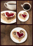 Set with a cake shape of heart royalty free stock photos
