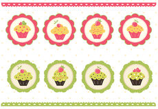 Set of cake stickers Stock Photos