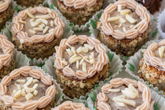 Set cake sweet with nuts closeup. Stock Photos