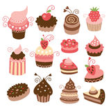 Set of cakes. Set of cute tasty cakes Royalty Free Stock Photography