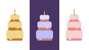Set of cakes. Set of cakes for Christmas, New Year, Birthday, Wedding, Anniversary, Festive Event. Flat vector illustration,eps 10 Royalty Free Stock Image