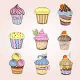 Set of cakes. Decorative sketch Royalty Free Stock Image