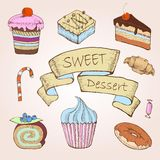 Set of cakes. Decorative sketch Royalty Free Stock Photo