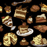 Set of cakes and desserts Stock Images