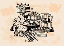 Set of cakes  Hand drawn illustrations Royalty Free Stock Photo