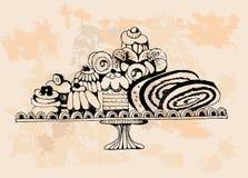 Set of cakes  Hand drawn illustrations Stock Photo