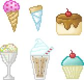 Set of cakes icons in pixel style Royalty Free Stock Images