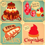 Set of Cakes Mini Posters. Sweet Cakes Retro Card. Cover Confectionery Menu. Vector Illustration Stock Photo