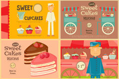 Set of Cakes Mini Posters. Vendor Cakes and Cupcakes. Vector Illustration royalty free illustration