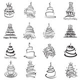 Set of cakes. Monochrome set of sixteen cakes royalty free illustration