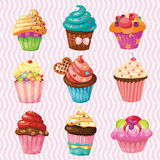 Set of Cakes, nine different cakes on a llight background Royalty Free Stock Photo