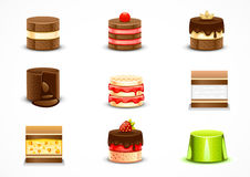 Set of cakes. Set of nine different cakes on white background Royalty Free Stock Photos
